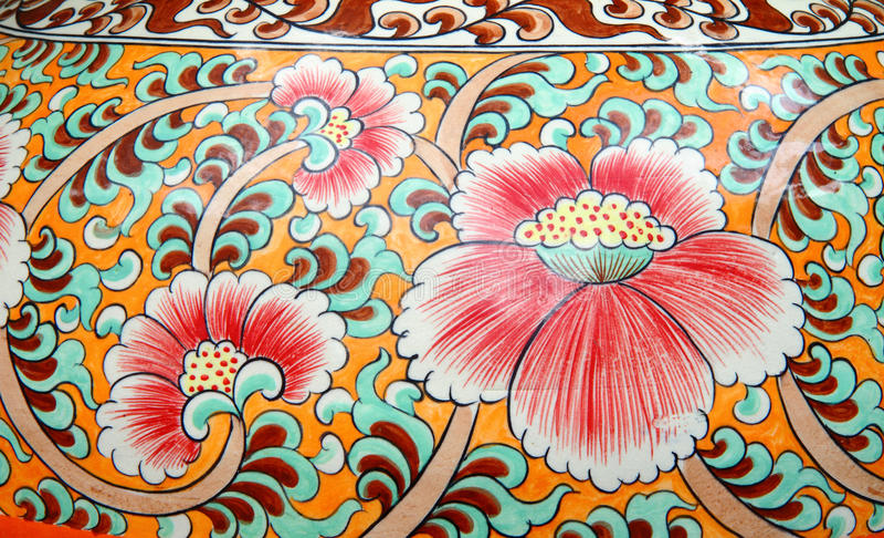 Pintura velha do estilo chinês em um vaso cerâmico fotografia de stock royalty free
