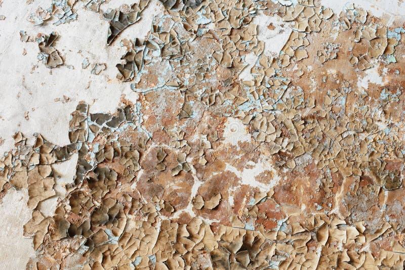 Pintura velha repugnante na parede da construção destruída imagens de stock royalty free