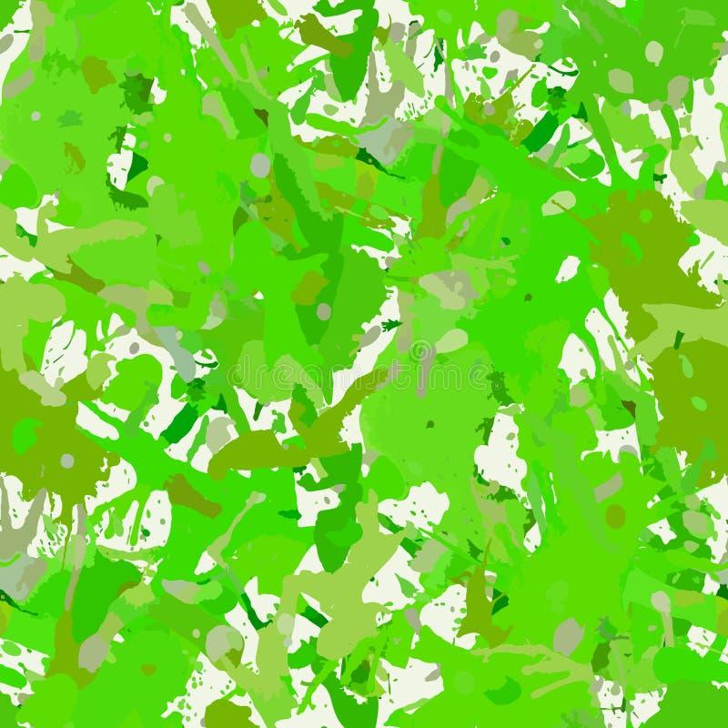 A pintura verde abstrata funky espirra o teste padrão sem emenda ilustração stock