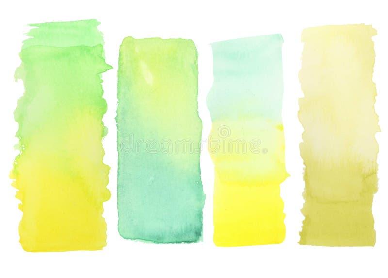 Pintura verde amarela da aquarela do inclinação ilustração royalty free
