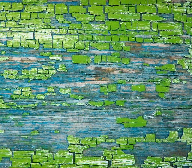Pintura verde crackinged envejecimiento de la textura fotografía de archivo libre de regalías