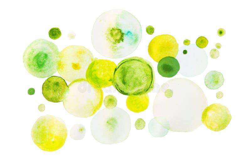 Pintura verde de la acuarela en la forma de círculos fotografía de archivo libre de regalías