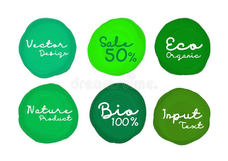 Pintura verde do círculo da aquarela, projeto do ícone, ícone da Web, ilustração do vetor, objeto de tiragem ilustração stock