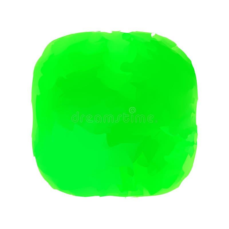 Pintura verde do conceito das cores dos círculos das manchas da aquarela, manchas na arte do estilo da pintura da arte da cor de  ilustração stock