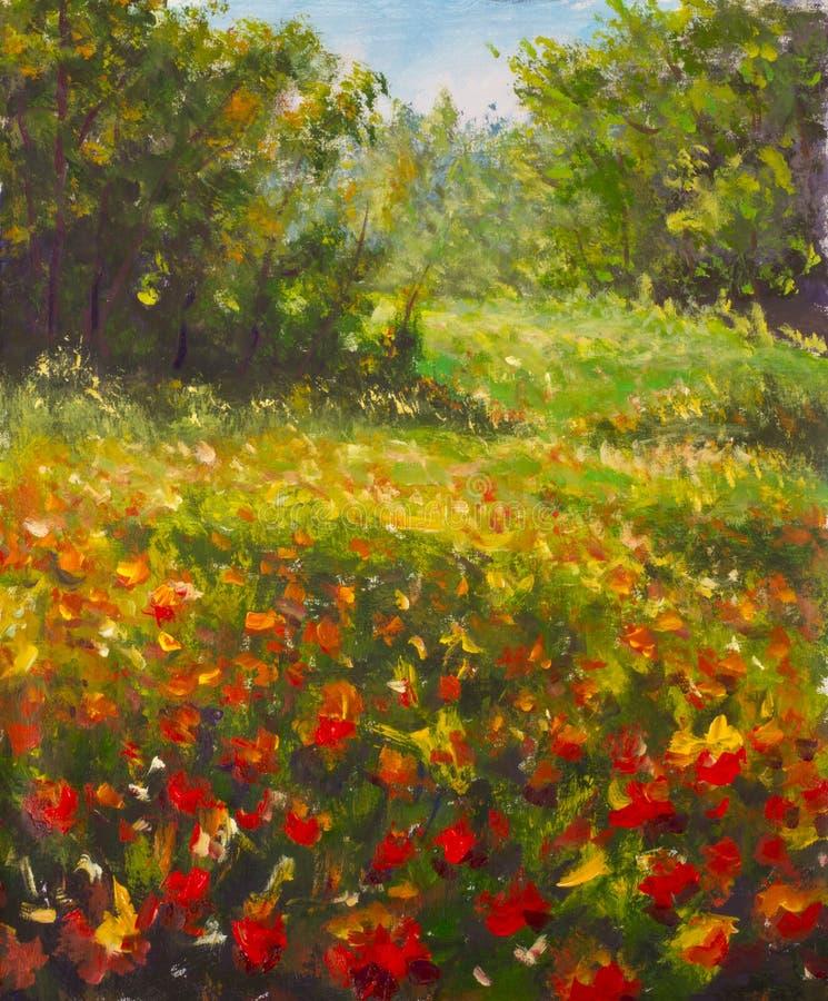 Pintura vermelha das papoilas Campo de flores bonitas vermelhas na madeira morna da floresta do verão O impasto da faca de paleta ilustração do vetor