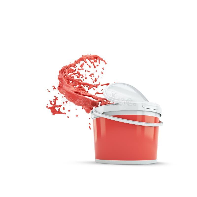 Pintura vermelha que espirra fora da lata do plástico Sobre o branco ilustração royalty free