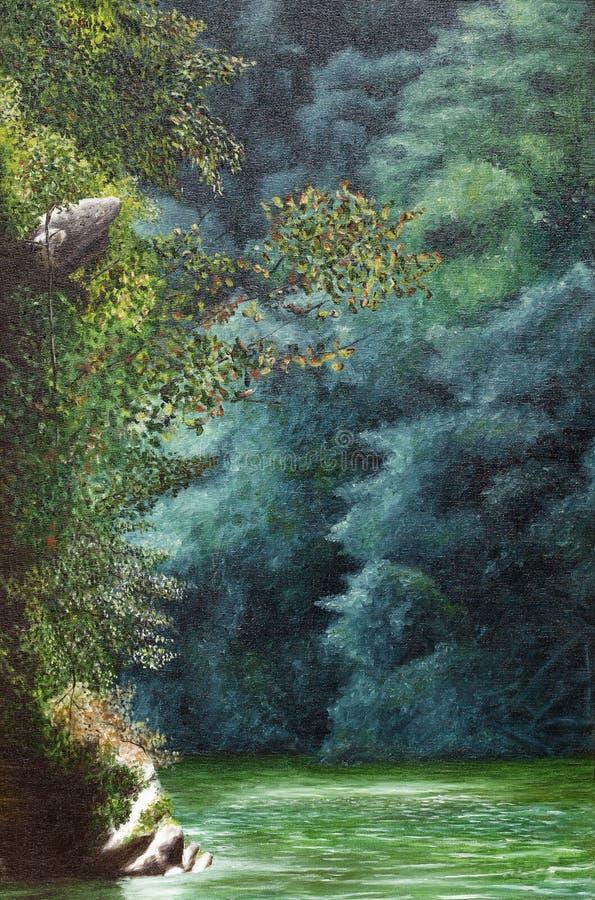 Pintura vertical de un río libre illustration