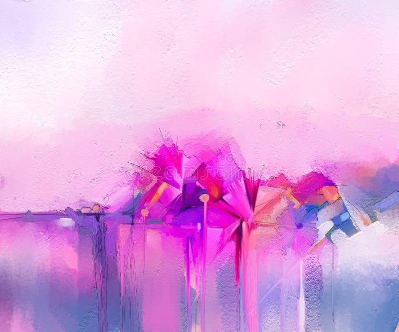 Pinturas a óleo da arte moderna para o fundo Imagem abstrata Semi- das flores, em cor-de-rosa e vermelho amarelos com cor azul ilustração do vetor