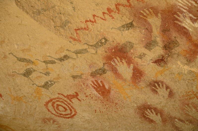 Pinturas aborígenes, Patagonia, la Argentina fotografía de archivo libre de regalías