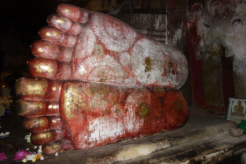 Pinturas antiguas de la flor en los pies del Buda fotos de archivo