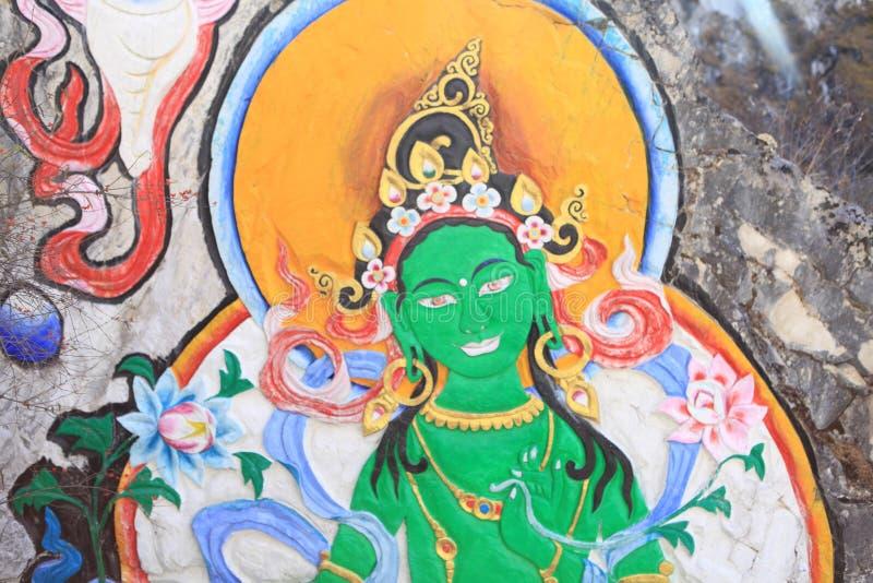 Pinturas budistas na reserva natural yading, Sichuan fotos de stock