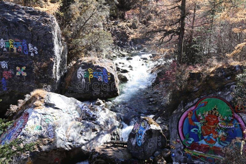 Pinturas budistas na reserva natural yading, Sichuan fotografia de stock royalty free