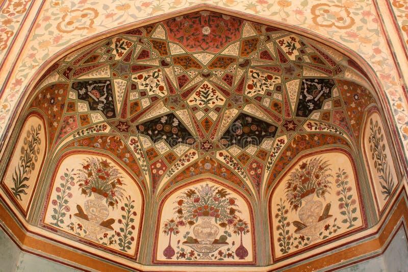 Pinturas complejas en fuerte del ámbar de la entrada de Ganesh Pol fotos de archivo libres de regalías