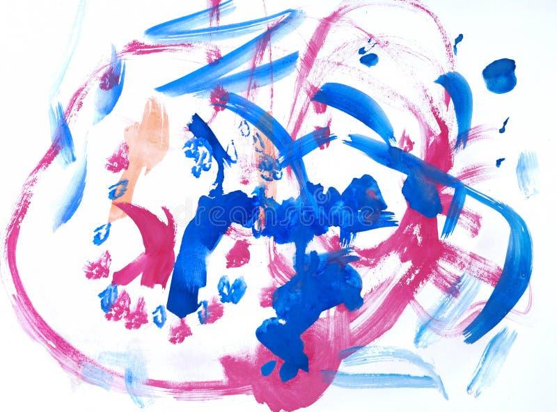 Pinturas da cor de água do desenho das crianças imagens de stock