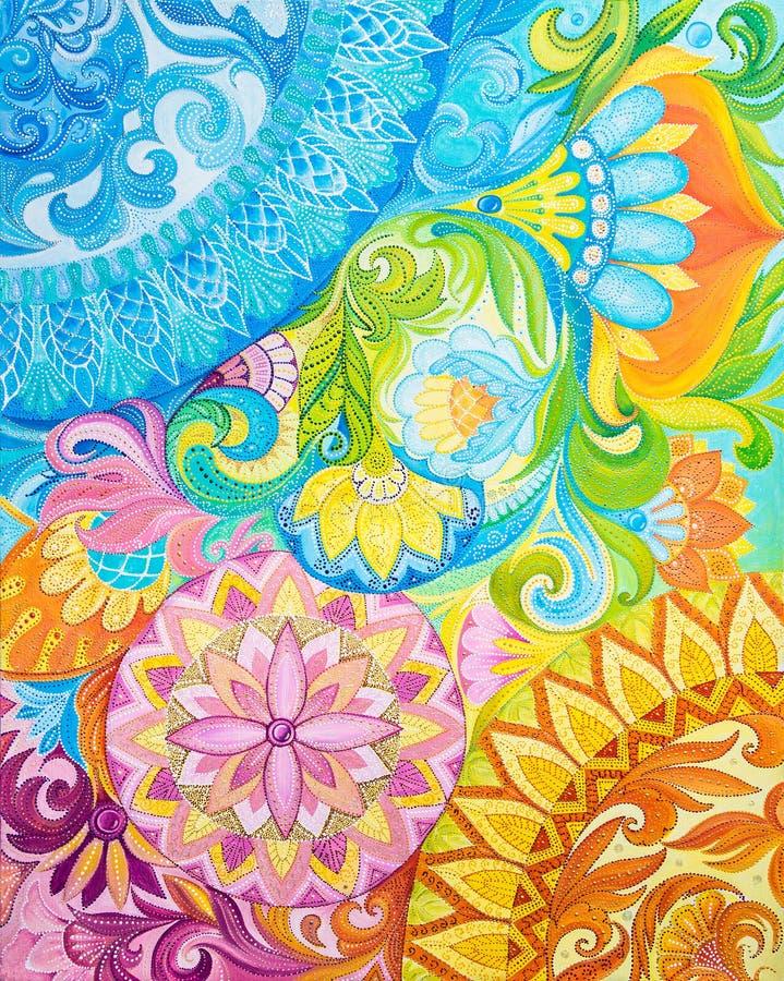 Pinturas de óleo abstratas do desenho em uma lona com ornamento floral ilustração royalty free
