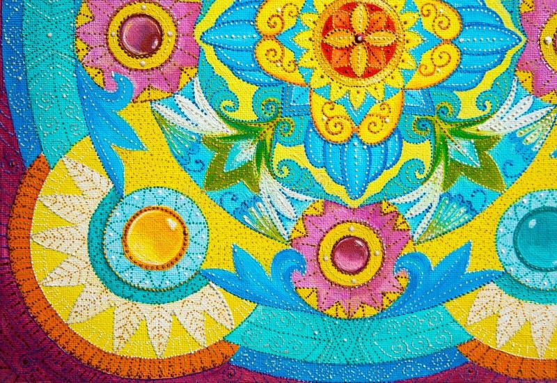 Pinturas de óleo do desenho em uma lona com o ornamento floral e gráfico ilustração royalty free