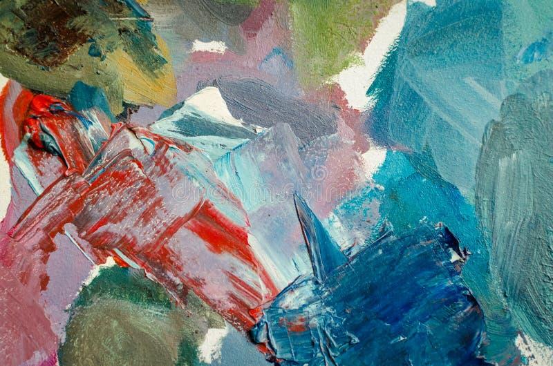 pinturas de óleo misturadas da textura em cores diferentes ilustração stock