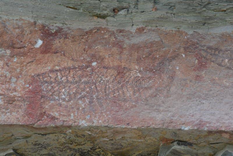 Pinturas de 3.000 años del acantilado imágenes de archivo libres de regalías