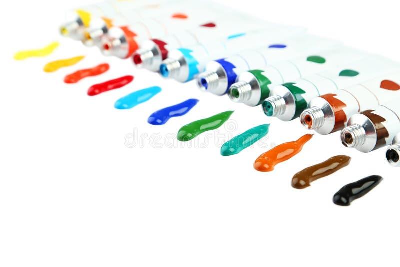 Pinturas de acrílico coloridas imagen de archivo