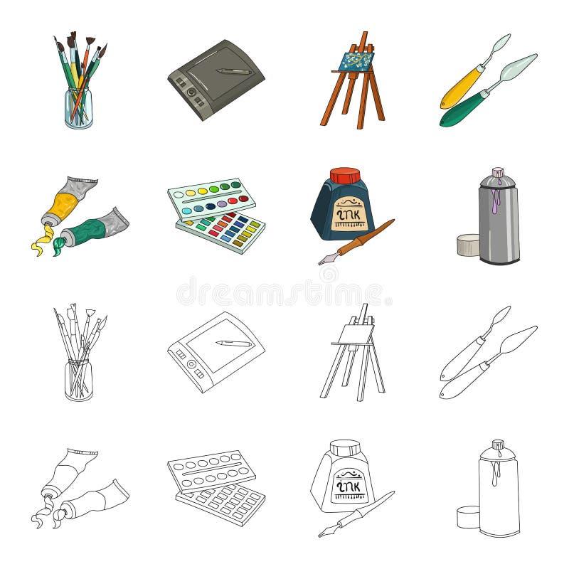 Pinturas de Balonchik, tubos con la pintura, acuarela en una caja, tinta en una botella y una pluma Colección determinada del art ilustración del vector