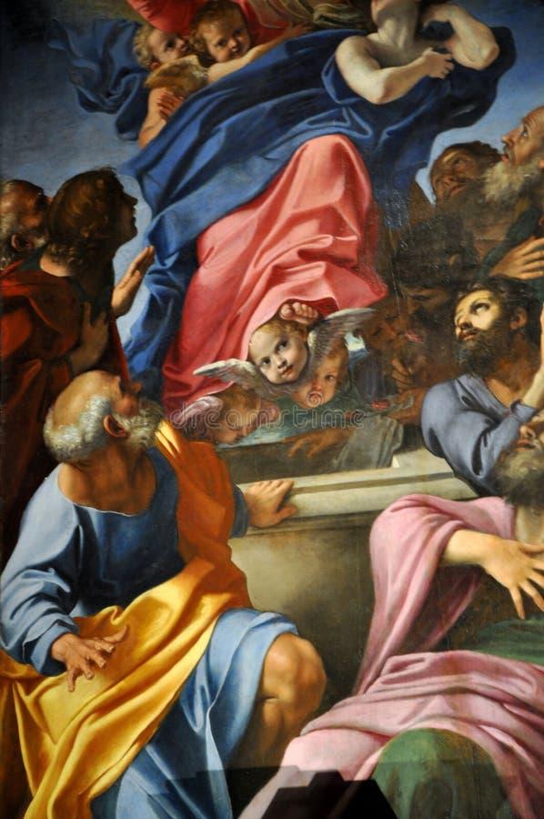 Pinturas de Caravaggio e de Carracci na capela de Cerasi Basílica de fotos de stock