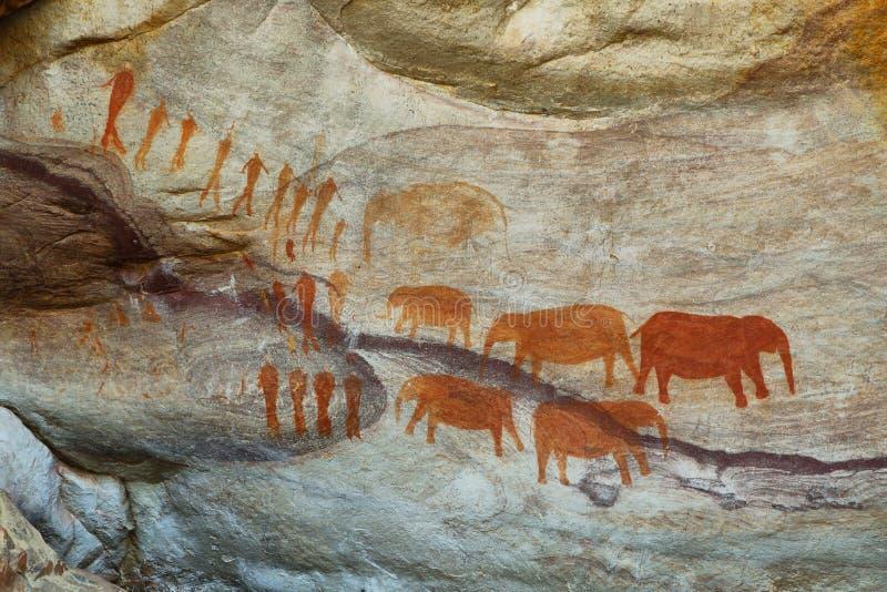 Pinturas de caverna do mateiro em Cederberg fotografia de stock