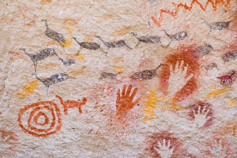 Pinturas de cuevas antiguas, la Argentina. imagen de archivo libre de regalías