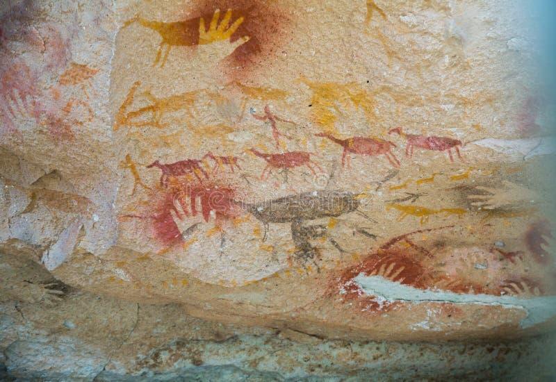 Pinturas de cuevas en Cueva de las Manos fotografía de archivo libre de regalías