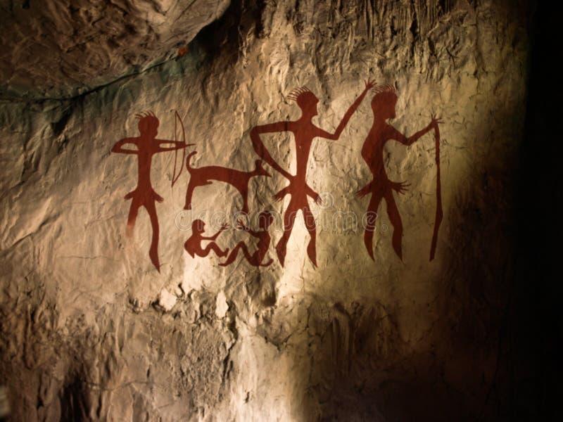 Pinturas de cuevas en el aprendizaje imagen de archivo