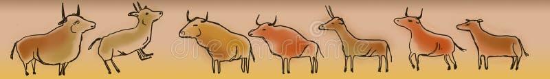 Pinturas de cuevas de toros y de cabras ilustración del vector