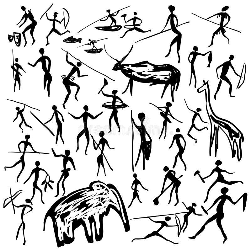 Pinturas de la roca stock de ilustración
