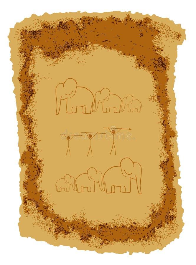 Pinturas de la roca ilustración del vector