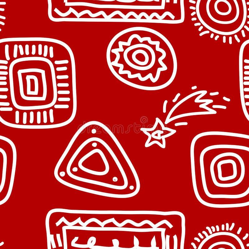 Pinturas de la roca blancas en rojo libre illustration