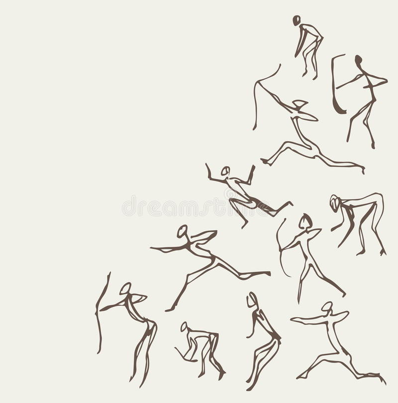 Pinturas de la roca Gráfico del vector stock de ilustración