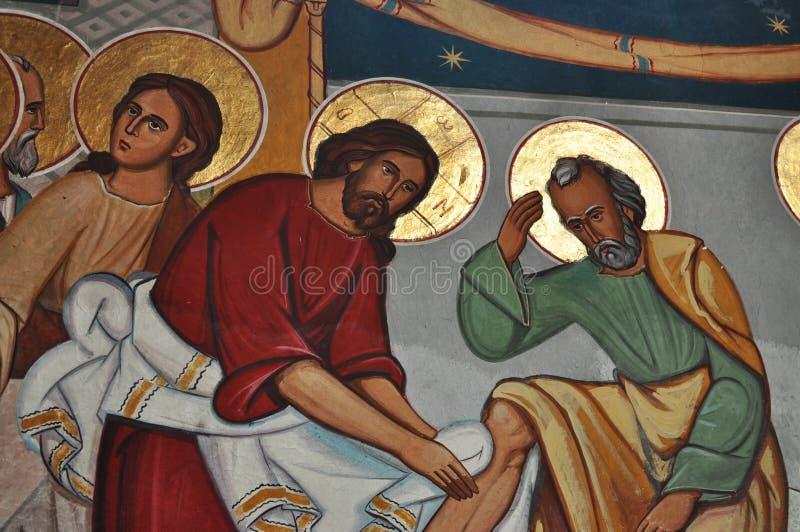 PINTURAS de los pies del €™ de Jesus Washes His Disciplesâ foto de archivo libre de regalías