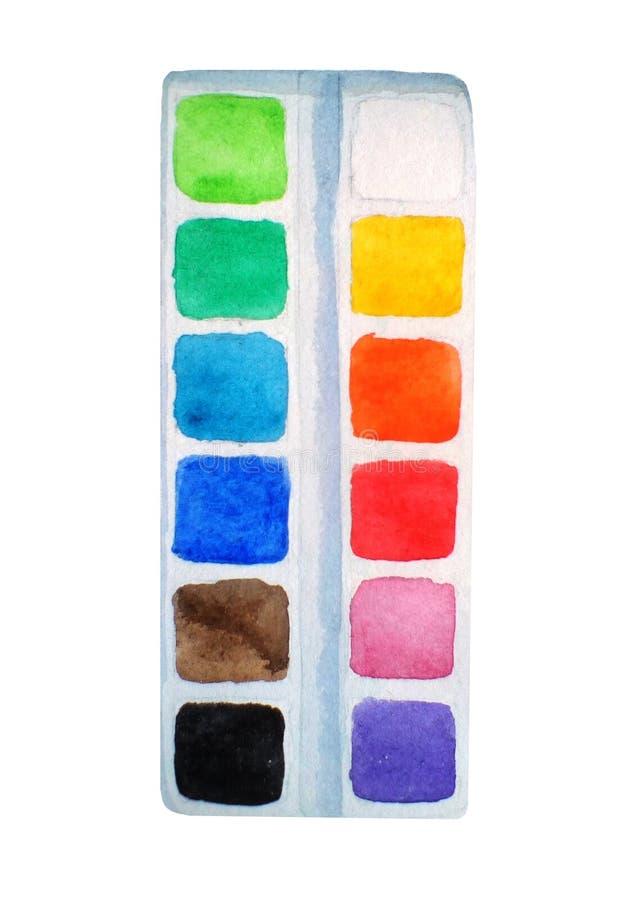 Pinturas, de nuevo a artículos de la escuela en el fondo blanco Fuentes de Schol Ejemplo dibujado mano de la acuarela libre illustration