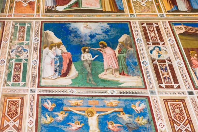 Pinturas de pared en la capilla de Scrovegni en Padua foto de archivo libre de regalías