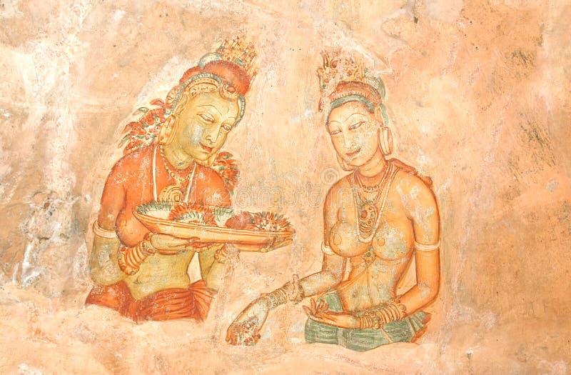 Pinturas de parede do século V da caverna da rocha de Sigiriya, Sri Lanka imagem de stock