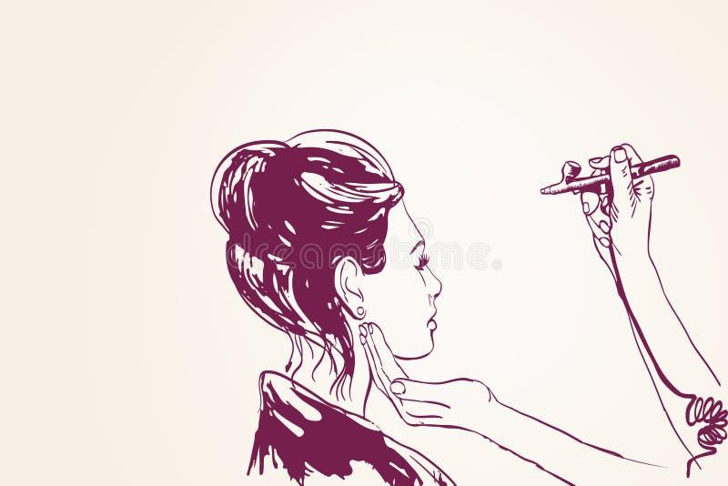 Pinturas del artista de maquillaje del visagist de la mujer en la cara de su cliente con el aerógrafo ilustración del vector