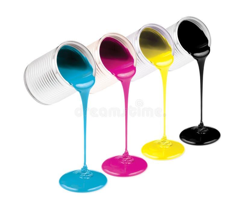 Pinturas del color de la tinta de Cmyk en latas imagen de archivo