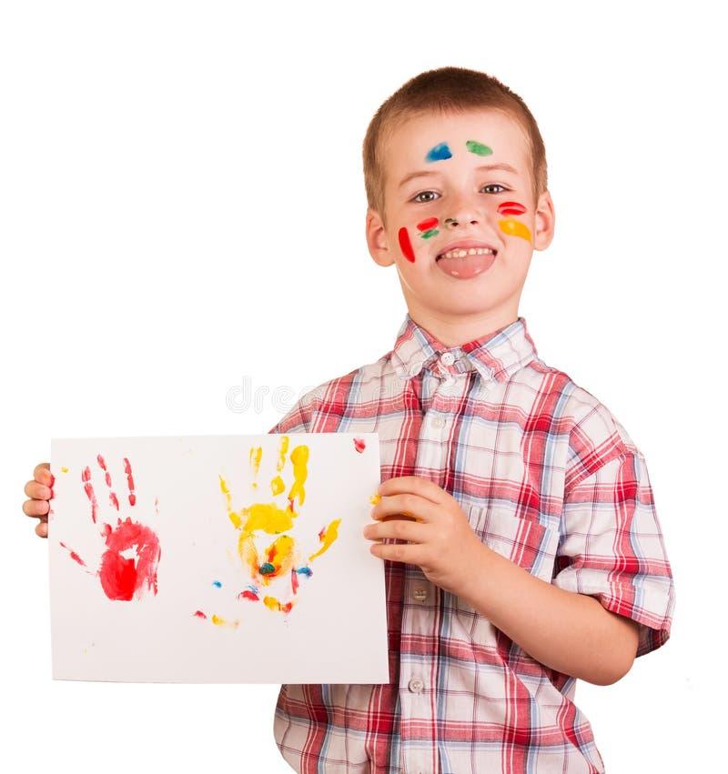 Pinturas del dibujo del muchacho travieso aisladas en el fondo blanco imágenes de archivo libres de regalías