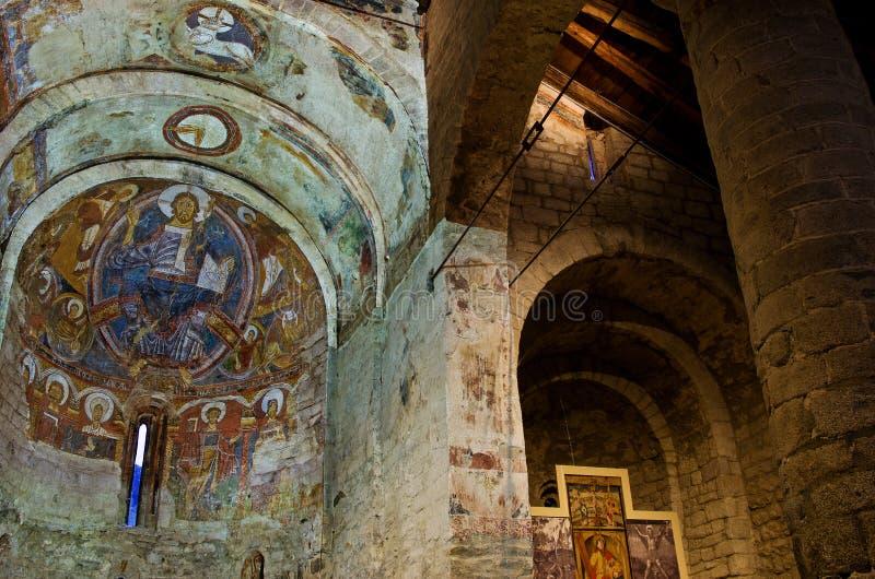 Pinturas del fresco del Pantocrator en la iglesia Sant Climent de Ta imagen de archivo libre de regalías