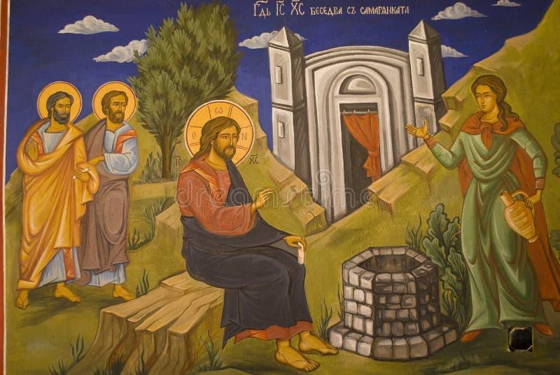 Pinturas do ícone no interior do monastério ilustração stock