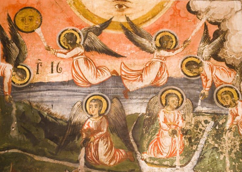 Pinturas do ícone no interior do monastério fotografia de stock royalty free