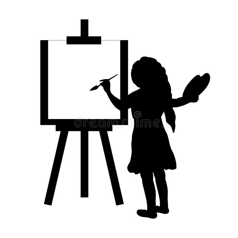 Pinturas do artista da menina da silhueta na lona ilustração do vetor