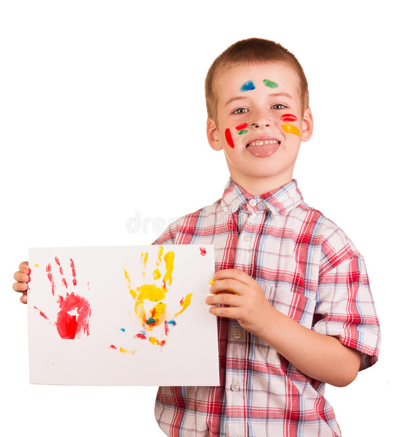 Pinturas do desenho do menino impertinente isoladas no fundo branco imagens de stock royalty free