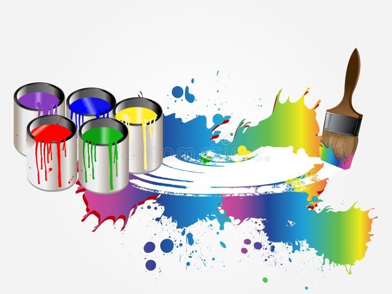 Pinturas e escova ilustração do vetor