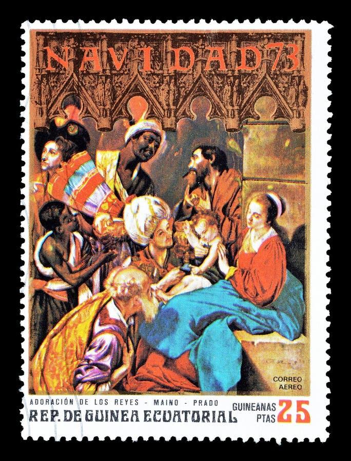 Pinturas em selos postais fotografia de stock royalty free
