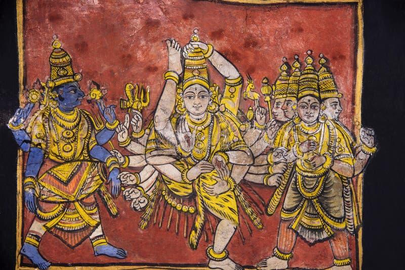 Pinturas en el techo, templo de Brihadishvara, sitios de un patrimonio mundial de la UNESCO, Thanjavur, Tamil Nadu, la India fotos de archivo libres de regalías