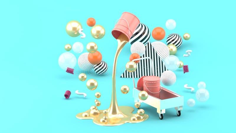 Pinturas líquidas douradas que jorram da lata cor-de-rosa entre as bolas coloridas no fundo azul fotos de stock royalty free